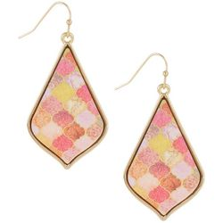 Bay Studio Pink Multi Wood Teardrop Earrings