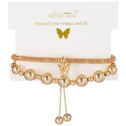 Urban Soul 2-Pk. Butterfly Gold Tone Bracelets