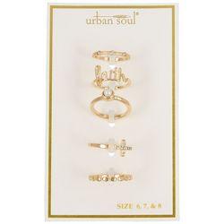 Urban Soul 5-Pk. Gold Tone Faith Rings