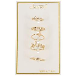 Urban Soul 5-Pk. Gold Tone Blessed Rings
