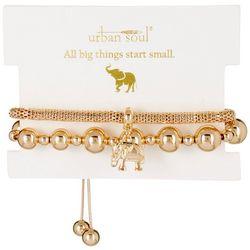 Urban Soul 2-Pk. Elephant Gold Tone Bracelets