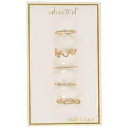 Urban Soul 5-Pk. Gold Tone Love Rings