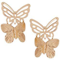 Bay Studio Butterfly Pair Gold Tone Earrings
