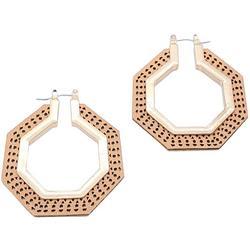 Brown & Gold Tone Octagon Hoop Earring