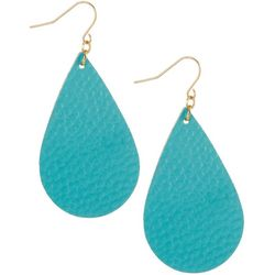 Bay Studio Aqua Blue Leather Teardrop Earrings