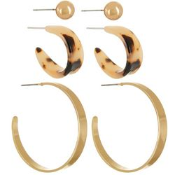 Bay Studio 3-pc. Gold Tone Ball Stud & Hoop Earring Set