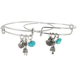 Bay Studio Hula Charm & Bead Bangle Bracelet Set