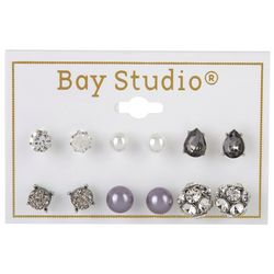 Bay Studio 6-pc  Rhinestone & Pearl Stud Earring Set