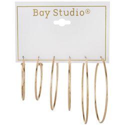 Bay Studio 3-pc Goldtone Graduated Hoop Earring Set