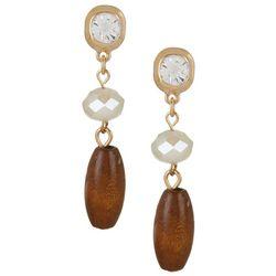Bay Studio Linear Wood and Rhinestone Post Top Earrings