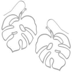 Monstera Leaf Silvertone Drop Earrings