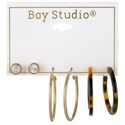 Bay Studio 3-pc Goldtone Stud & Hoop Earring Set