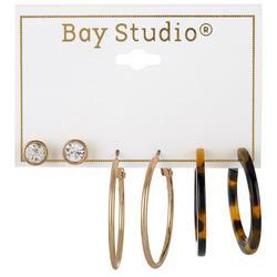 3-pc Goldtone Stud & Hoop Earring Set