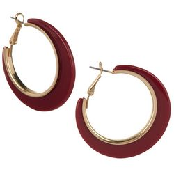 Bay Studio Burgandy Resin  Clutchless Hoop Earrings