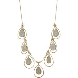 Bay Studio Glitter Teardrop Goldtone Necklace