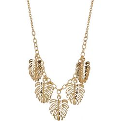 Bay Studio Goldtone Monstera Leaf Frontal Necklace