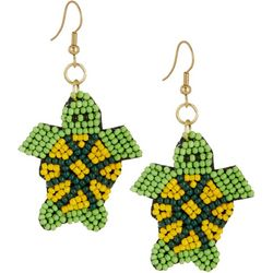 Bay Studio Green Multi Seed Bead Turtle Earrings