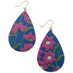 Embroidered Floral Teardrop Drop Earrings