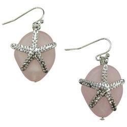 Stone With Starfish Silvertone Drop Earrings