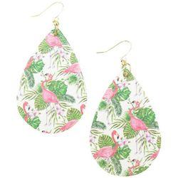 Bay Studio Flamingos & Palm Leaf Teardrop Drop Earrings