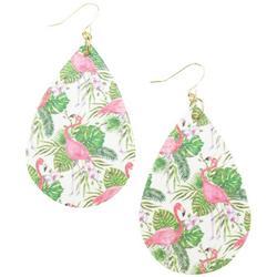 Flamingos & Palm Leaf Teardrop Drop Earrings