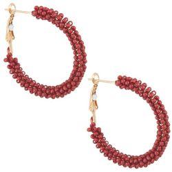 Bay Studio Trendy Seed Bead Wrapped Hoop Earrings