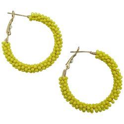 Seed Bead Wrapped Hoop Earrings