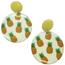 Bay Studio Pineapple Print Disc Drop Earrings