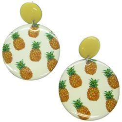 Pineapple Print Disc Drop Earrings