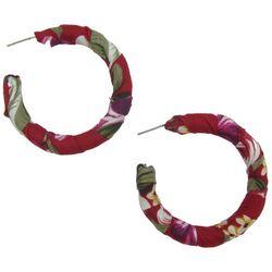 Bay Studio Red Tropical Fabric Wrapped C-Hoop Earrings