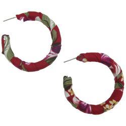 Red Tropical Fabric Wrapped C-Hoop Earrings