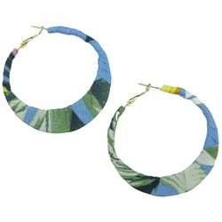 Bay Studio Tropical Fabric Wrapped Hoop Earrings