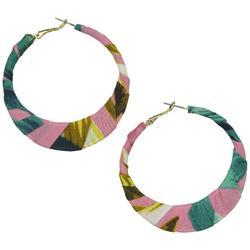 Tropical Fabric Wrapped Hoop Earrings