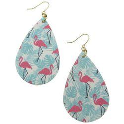 Bay Studio Flamingos & Blue Palm Leaf Teardrop Drop Earrings
