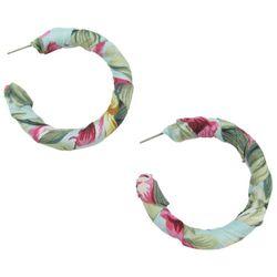 Bay Studio Tropical Fabric Wrapped C-Hoop Earrings