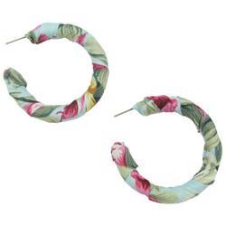 Tropical Fabric Wrapped C-Hoop Earrings