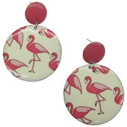 Flamingo Print Disc Drop Earrings