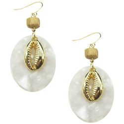 Bay Studio Goldtone Cowrie Shell Oval Drop Earrings