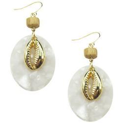 Goldtone Cowrie Shell Oval Drop Earrings