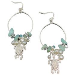 Beaded Turtle Silvertone Hoop Earrings