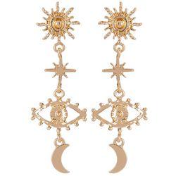 Bay Studio Goldtone Celestial linear Drop Earrings