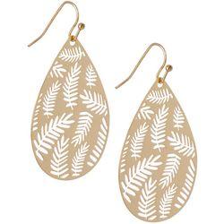 Bay Studio Goldtone Lasercut Palm Earrings