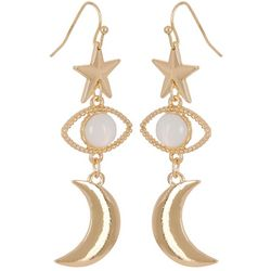 Bay Studio Goldtone Star Eye Moon Drop Earrings