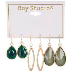 Bay Studio 3-pc Goldtone Green Stones Drop Earring Set