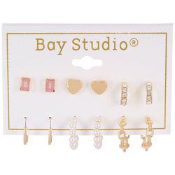 Bay Studio 6-pc Heart Studs and Mini Hoops Earring Set
