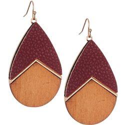 Bay Studio Faux Leather & Wood Teardrop Earrings