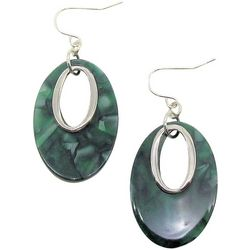 Bay Studio Green Marble Oval Donut Earrings