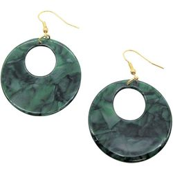Bay Studio Green Marble Donut Hoop Drop Earrings
