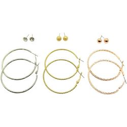 Bay Studio 6 Pr Tri-Tone Ball & Hoop Earring Set