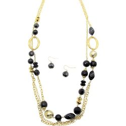 Bay Studio Black Marble Bead Chain Necklace Set